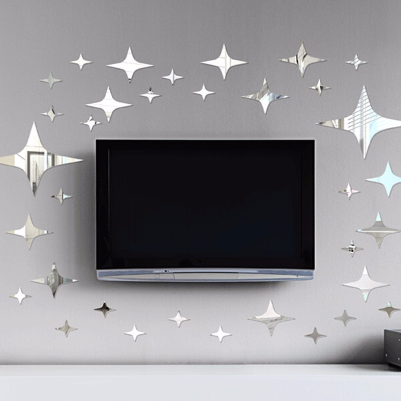 3D Wall Mirror Stickers 39pcs DIY Home Room Decals Decor Removable