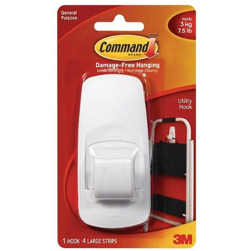 Command Jumbo Plastic Hook with Adhesive Strips 1 ea (Pack of 4)