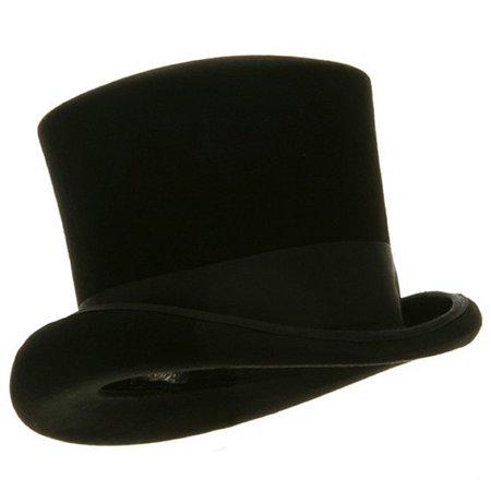 Black Victorian Top Hat 100% Wool Mad Hatter L/XL Felt Caroler Dickens Costume