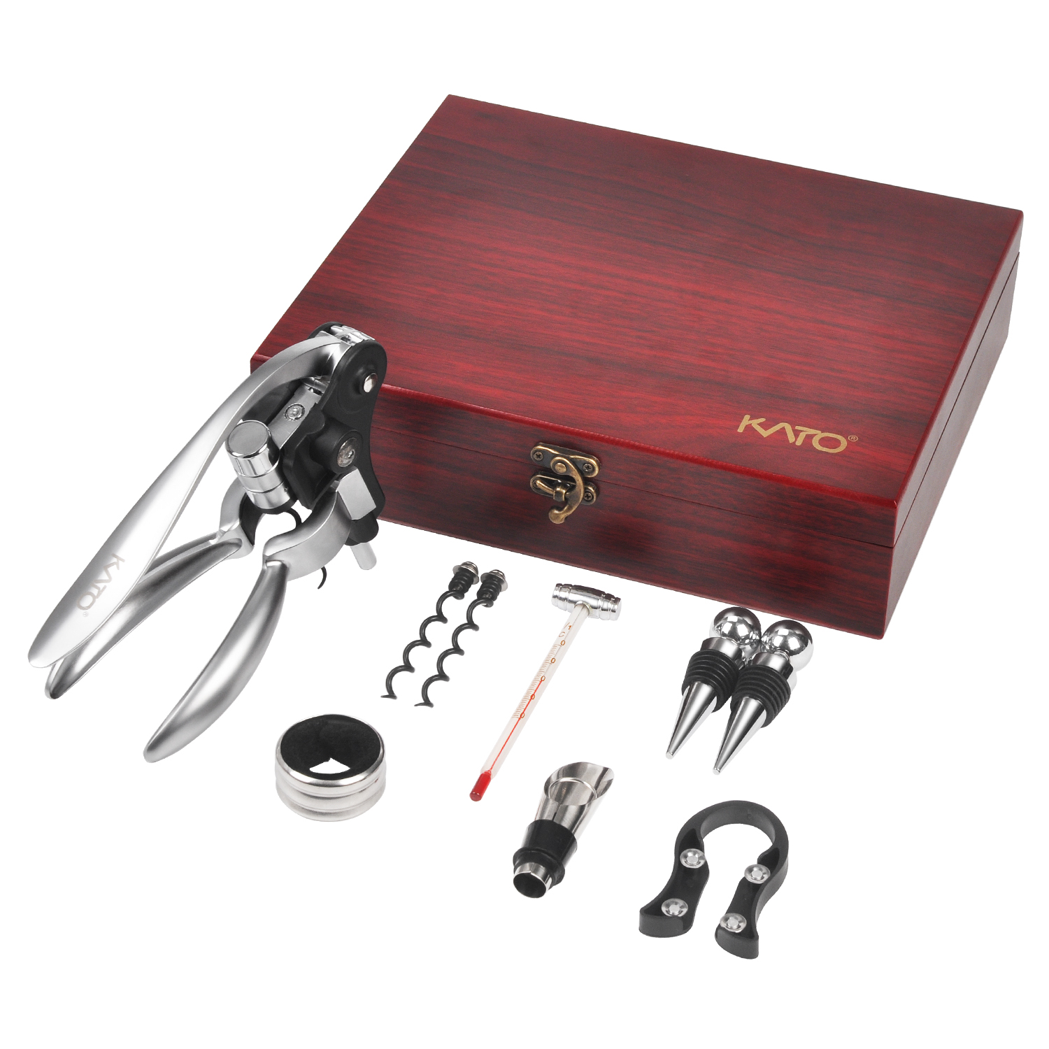 Rabbit Wine Opener Corkscrew Set, 9 Pieces Wine Bottle Screwpull Accessories Gift Kit, Wine Stoppers and Pourer, Foil Cutter and Extra Screws In Deluxe Red Box by Kato