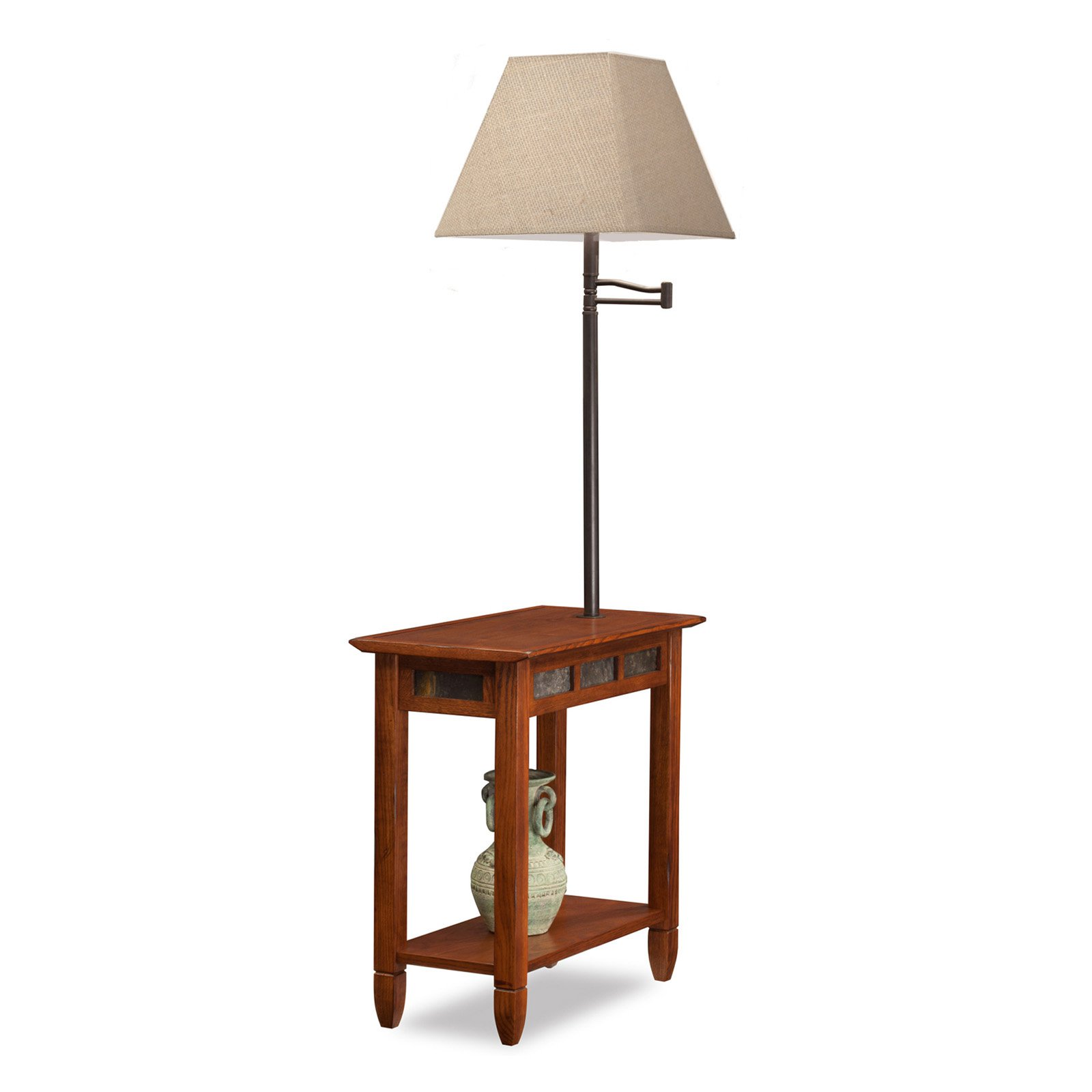 Leick Favorite Finds Slate Chairside Lamp End Table in Rustic by Leick Furniture