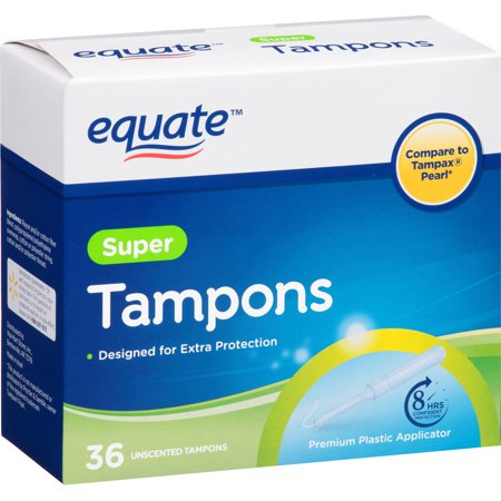 Image of Equate Super Regular Unscented Plastic Applicator Tampon, 40 Count