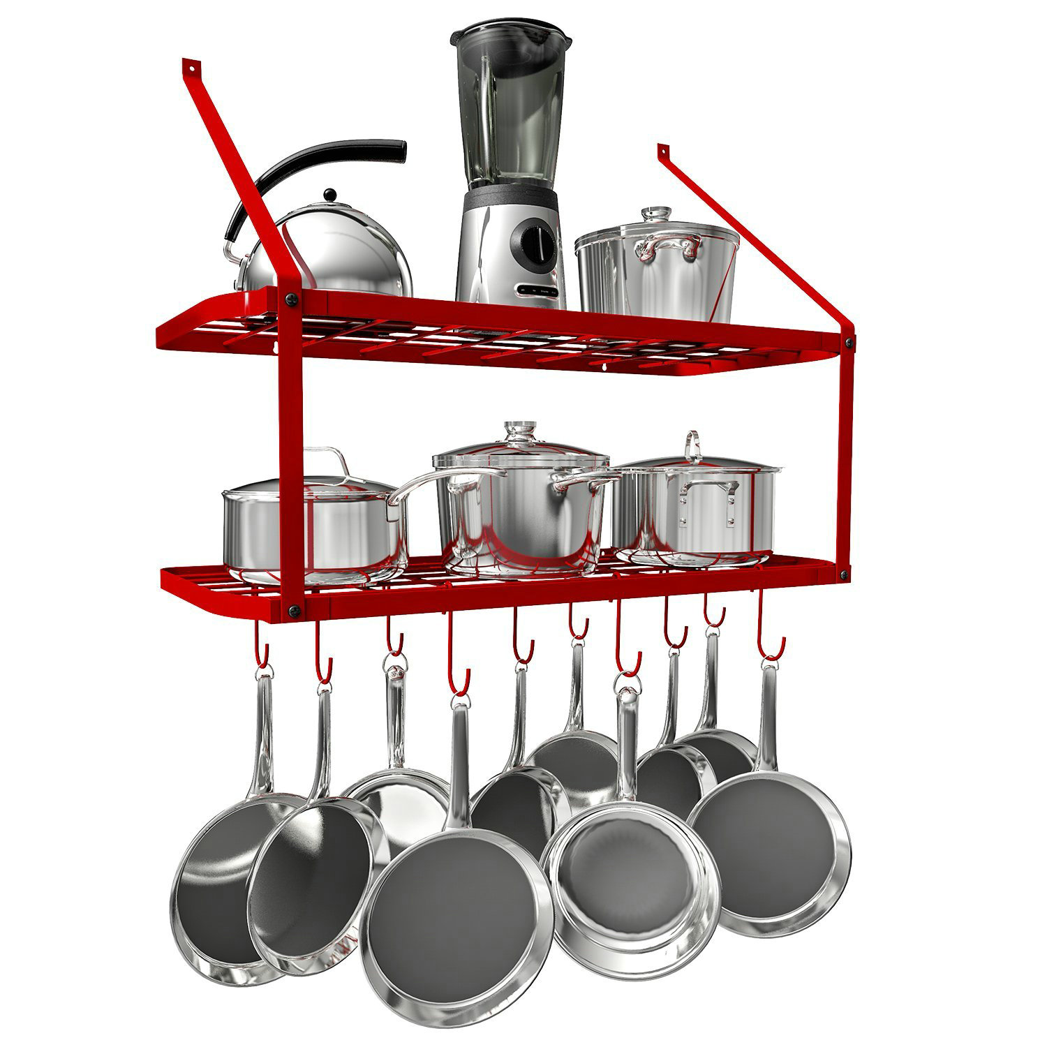 VDOMUS Pots and Pans Rack Wall Mounted Hanging Pot Shelf ...