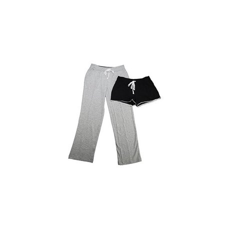 - Emma James Womens Size Large Soft French Terry Short + Pants Set W/Crochet Details, Heather Grey
