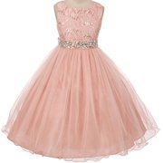 Flower Girl Dress Wedding Pageant Rhinestone Sequins Glitter for Big Girl Blush 10 MBK 340