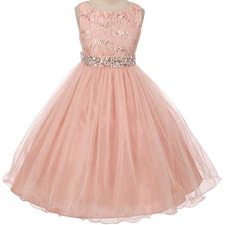 Flower Girl Dress Wedding Pageant Rhinestone Sequins Glitter for Big Girl Blush 10 MBK 340 - Dress For Girl