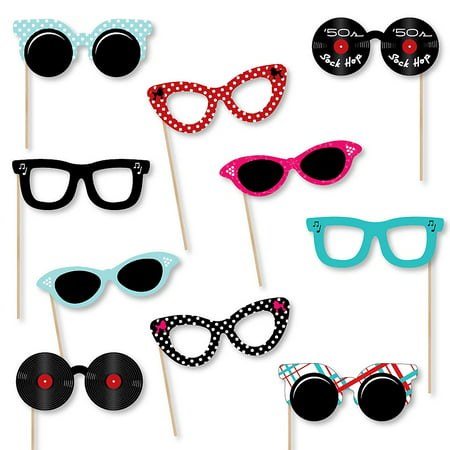 50's Sock Hop Glasses - Paper Card Stock 1950s Rock N Roll Party Photo Booth Props Kit - 10 - 1950's Glasses