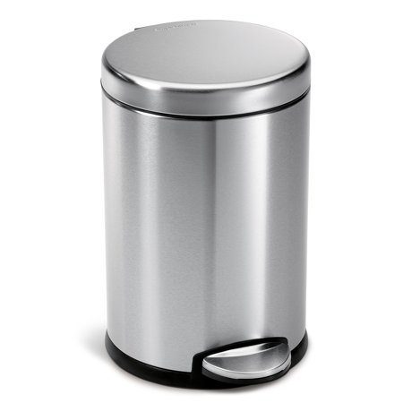 simplehuman 4.5 litre / 1.2 gallon round step trash can fingerprint-proof brushed stainless steel (Halloween Trailer Trash)