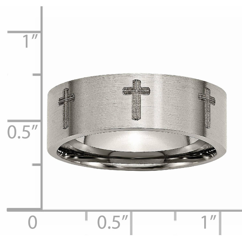 Best Quality Free Gift Box Titanium Flat 8mm Laser Design Brushed Band