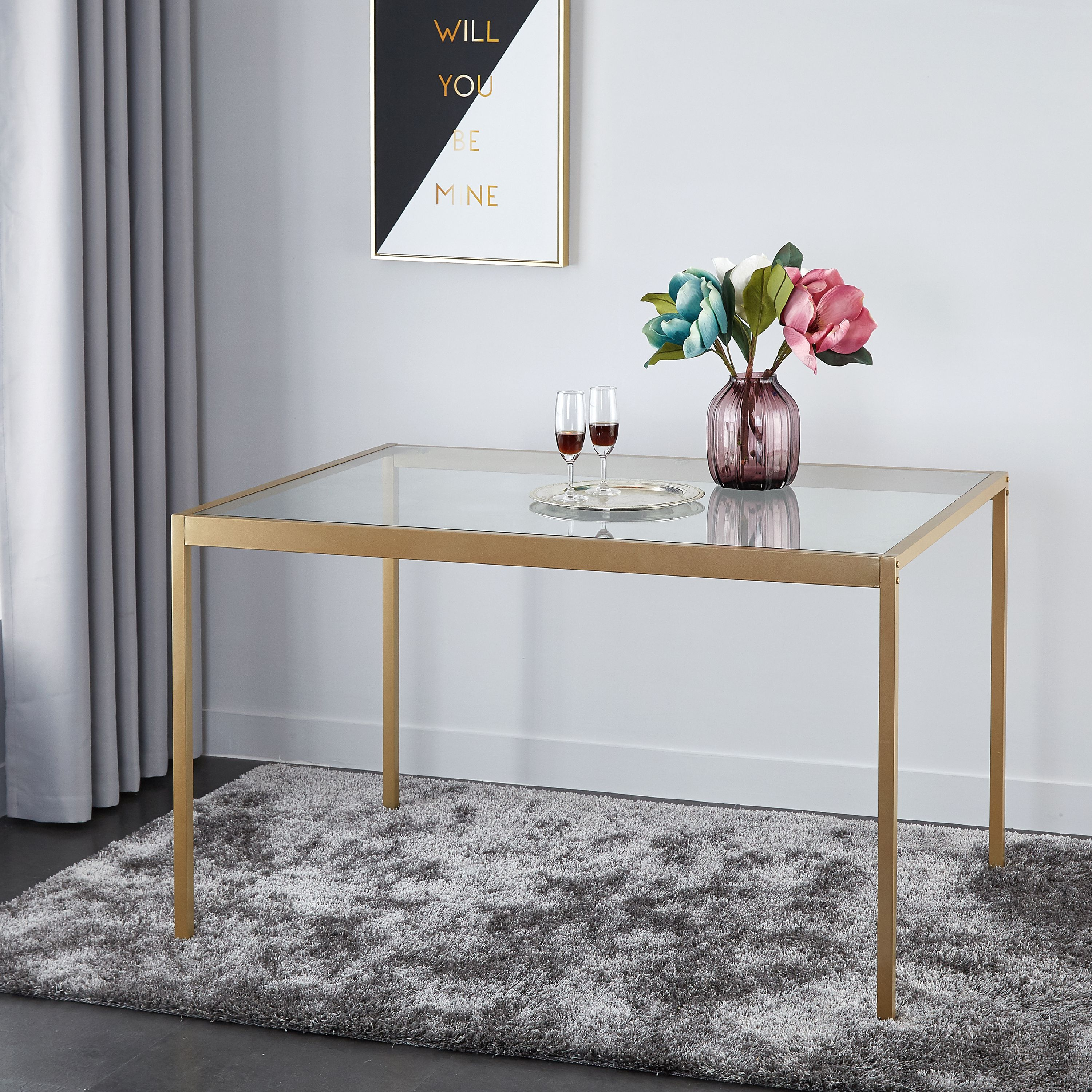Mainstays Tempered Glass and Metal Dining Table, Multiple Sizes