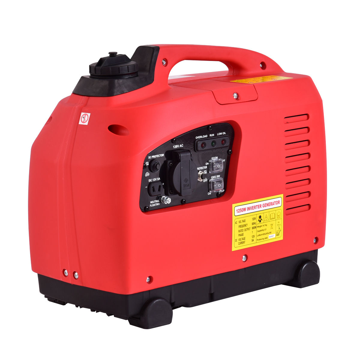 Costway Portable 1250W Digital Inverter Generator 4 Stroke 53cc Single Cylinder Red