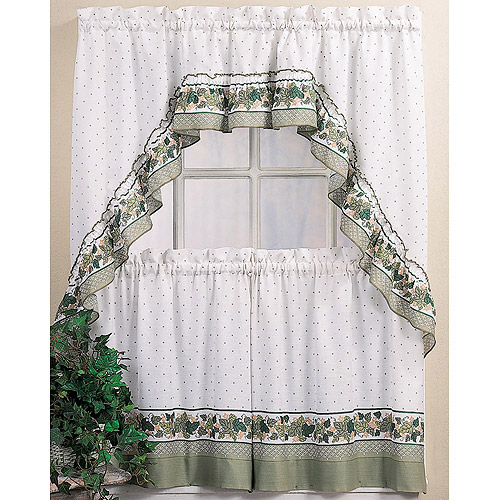chf & you cottage ivy tier kitchen curtains, set of 2 - walmart