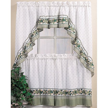 CHF & You Cottage Ivy Kitchen Curtains Tiers