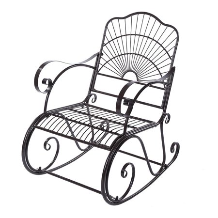 WALFRONT Outdoor Rocking Chair, Metal Iron Single Chair Armchair Lounge Seat Casual Rocker Chair for Home Office Garden Patio Backyard Park Terrace Porch (Coffee/40.9*35.0*24.0 inch) ()