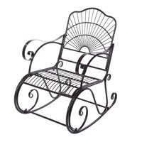 WALFRONT Outdoor Rocking Chair, Metal Iron Single Chair Armchair Lounge Seat Casual Rocker Chair for Home Office Garden Patio Backyard Park Terrace Porch (Coffee/40.9*35.0*24.0 inch)