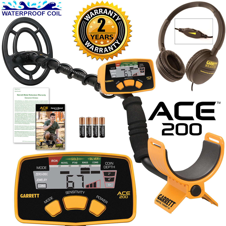 Garrett ACE 200 Metal Detector with DD Waterproof Coil an...