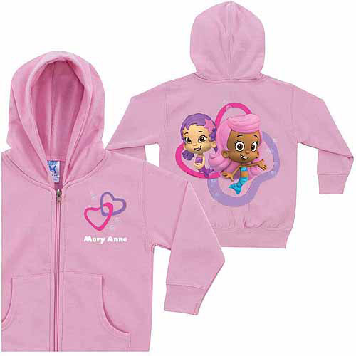 Personalized Bubble Guppies Girls' Pink Zip-Up Hoodie