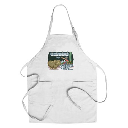 Seattle  Washington   Pike Place Market   Cartoon Icon   Lantern Press Artwork  Cotton Polyester Chefs Apron