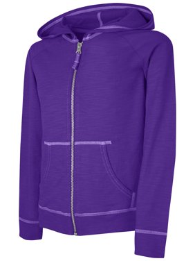 Hanes Girls Slub Jersey Full-Zip Hoodie, Sizes 4-16