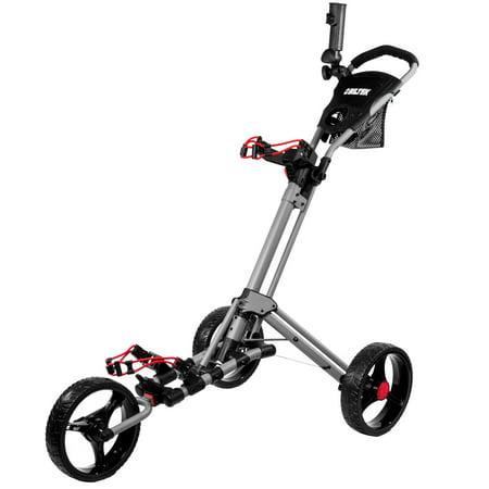 Biltek Biltek Premium 3-Wheel Golf Push Cart Trolley Silver Umbrella Scorecard Holder