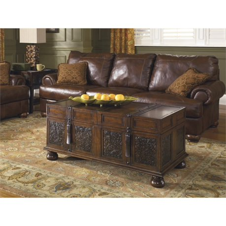 Ashley mckenna coffee table with storage in dark brown for Meuble ashley circulaire