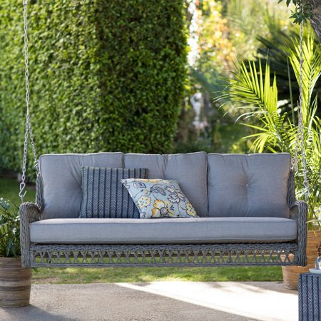 Belham Living Bristol Resin Wicker Outdoor Porch Swing Bed with Cushions ()
