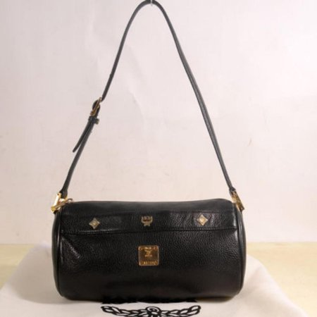 - Studded Cyllinder Boston 868837 Black Leather Shoulder Bag