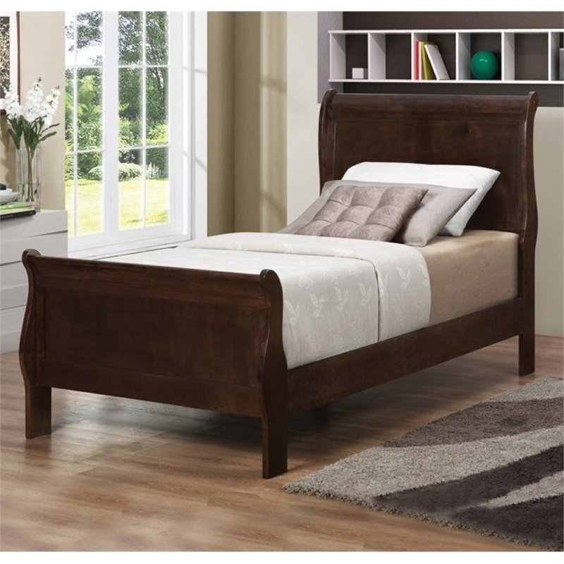 Bowery Hill Twin Sleigh Bed in Cappuccino by Bowery Hill