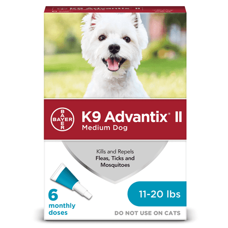 K9 Advantix II Flea and Tick Treatment for Medium Dogs, 6 Monthly