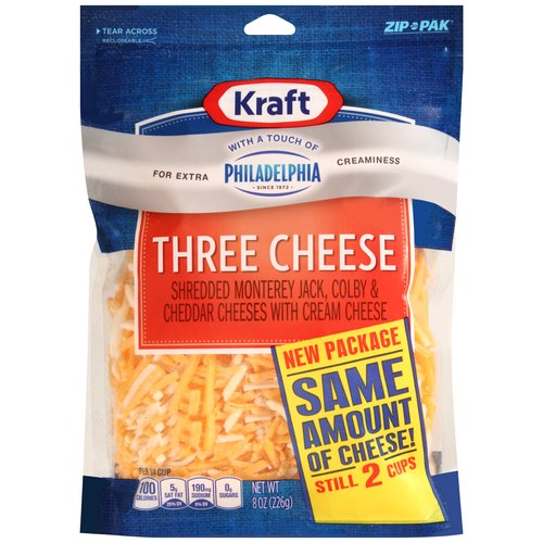 Kraft Shredded Three Cheese Blend with a Touch of Philadelphia, 8 oz