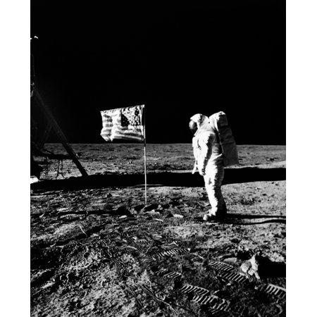 1969 Astronaut Us Flag And Leg Of Lunar Lander On The Surface Of The Moon Poster Print By Vintage Collection