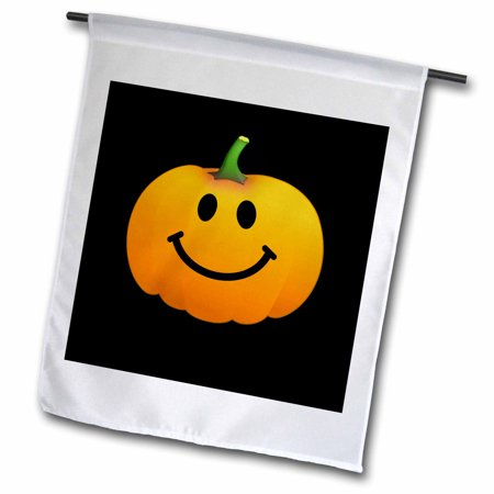 3dRose Orange pumpkin smiley face on black - cute happy Halloween jack o lantern cartoon - fun smileys - Garden Flag, 12 by - Smiley Face Pumpkin