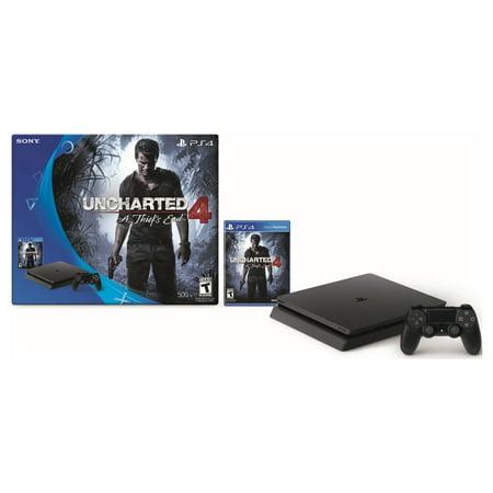 PlayStation 4 Slim 500GB Uncharted 4 Bundle with Bonus Sony Dualshock 4 Controller Black