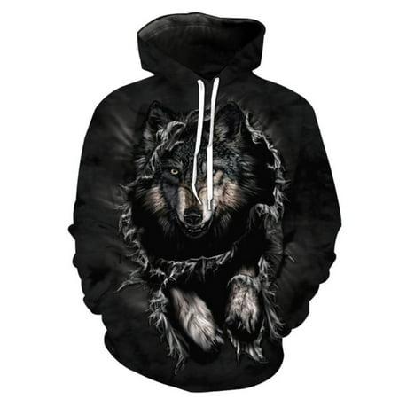Diy Wolf Hoodie (Women Men 3D Wolf Animal Print Hoodie Sweatshirt Pullover Tops Jacket)