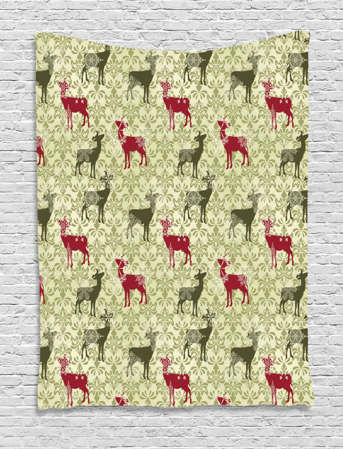 Deer Tapestry Damask Pattern Ethnic And Ornate Christmas