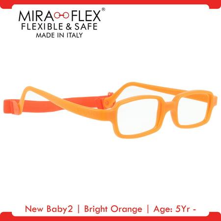 Miraflex New Baby2 Unbreakable Kids Eyeglass Frames 42 14 Bright Orange Age 5yr 7yr