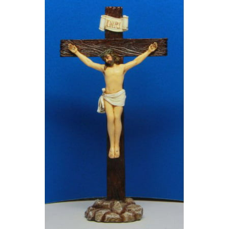 - 6 Inch Jesus on Crucifix Resin Standing Religious Statue Figurine by PTC