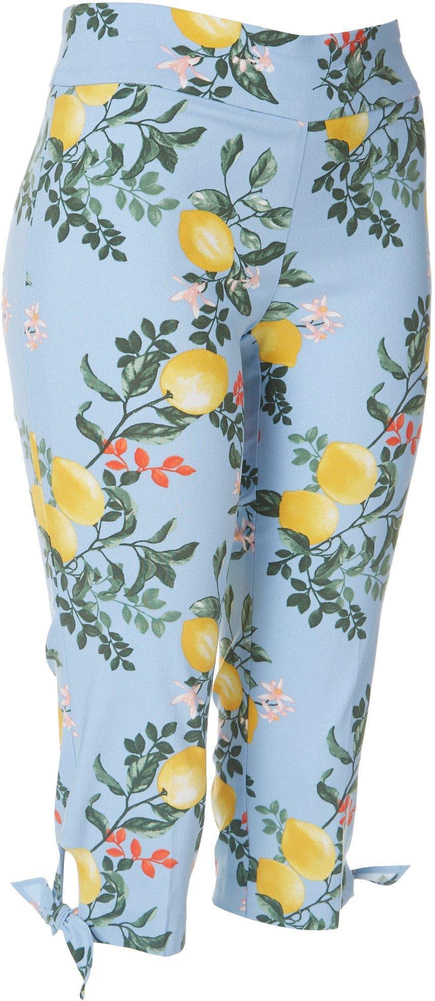 Counterparts Womens Plus Tie Hem Lemon Capris