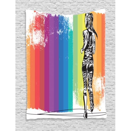 Olympics Tapestry, Female Marathon Runner Illustration on Vertical Stripes in Rainbow Colors, Wall Hanging for Bedroom Living Room Dorm Decor, Orange Purple Blue, by Ambesonne