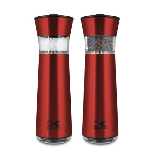 Click here to buy Kalorik Easygrind Electric Gravity Salt and Pepper Grinder Set Red by Team International Group.