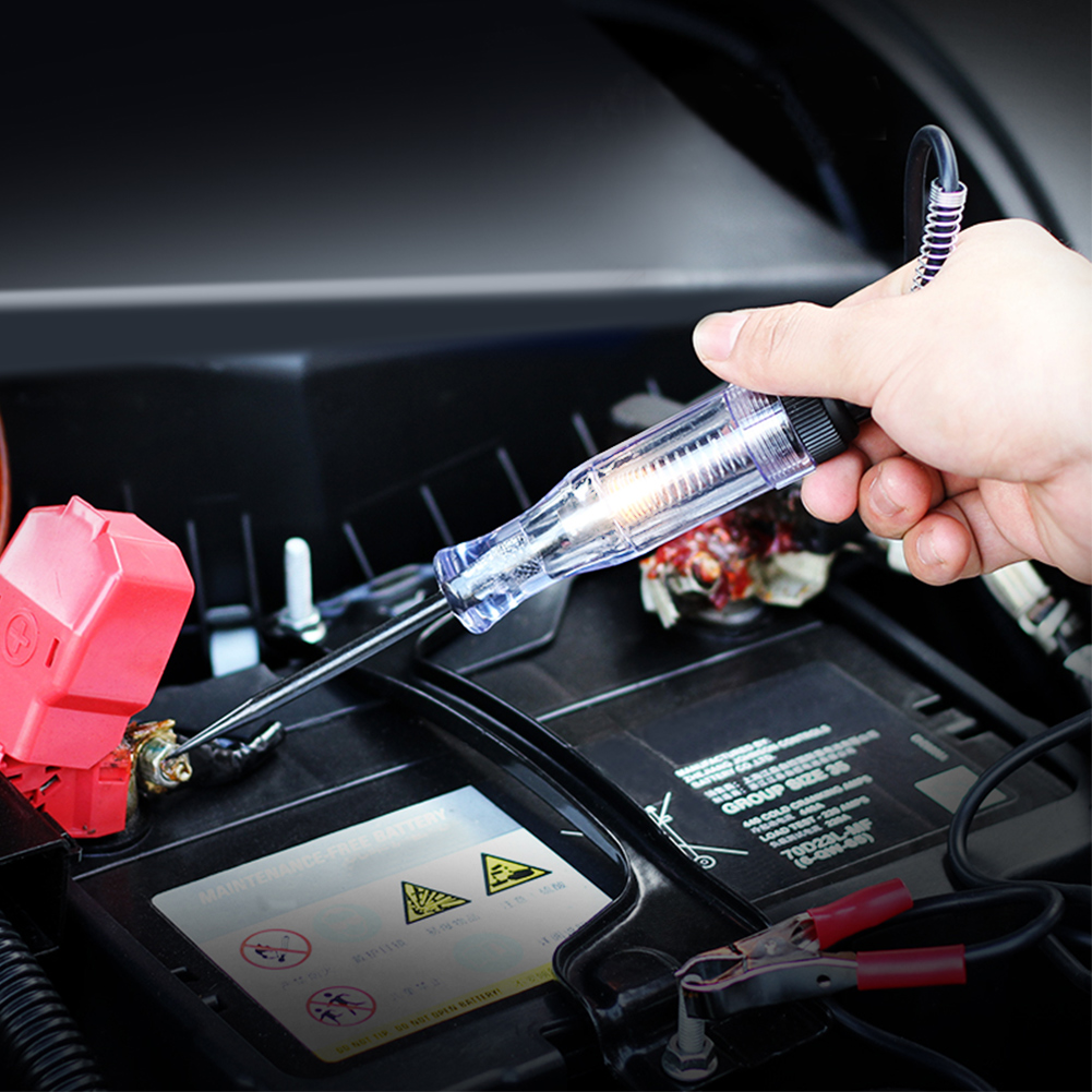 Truck Voltage Circuit Tester Car Test VoltMet Long Probe Pen Light Bulb for 6V 12V 24V DC Car