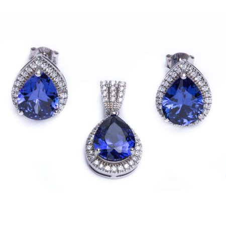 .925 Sterling Silver 7.75ct Pear Cut Simulated Tanzanite & Cubic Zirconia Earring & Pendant Jewelry set
