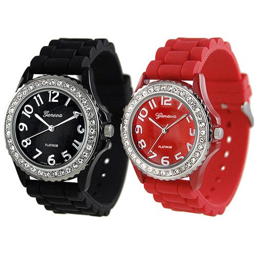 Brinley Co. Women's Rhinestone-Accented Silicone Watch, Set of 2
