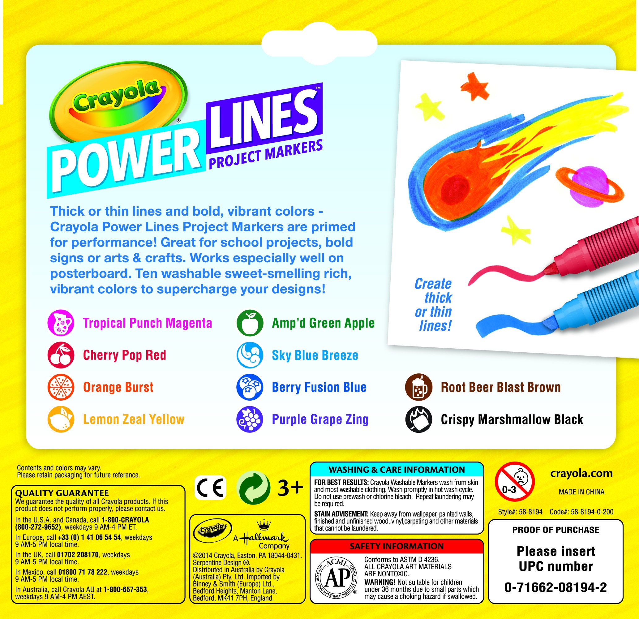 Crayola Power Lines 10-color Project Markers - Brown, Red, Blue, Violet, Black, Yellow, Magenta, Light Blue, Green, Orange Burst Ink - 10 / Pack (cyo-588194)