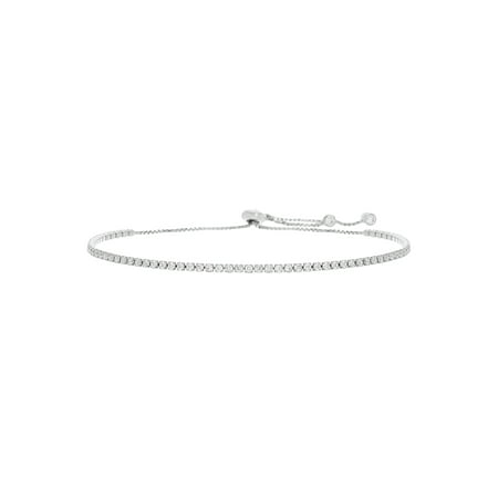 Lesa Michele Cubic Zirconia Tennis Bracelet with Expandable Slider Box Chain in Sterling Silver (Cheap Bracelet)