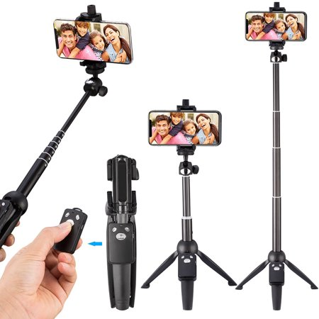 Remote Bluetooth Selfie Stick, Tripod Monopod Selfie Stick with Bluetooth Remote for iPhone 8/iPhone 8 Plus/X/iPhone 7/iPhone 7 Plus/Galaxy Note 8/S8 /S8 Plus & More, 39-Inch