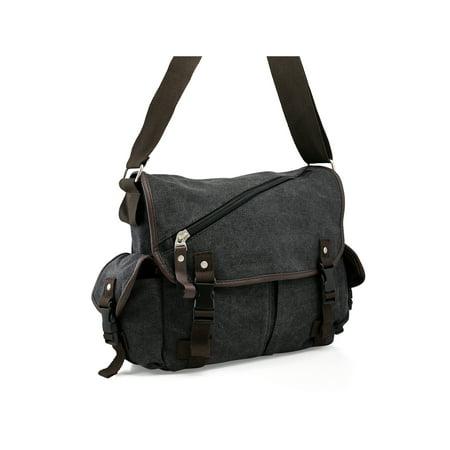 Men Messenger Bag School Shoulder Canvas Bag Vintage Crossbody Satchel Laptop Business Bags (Mens Crossover Shoulder Bag)