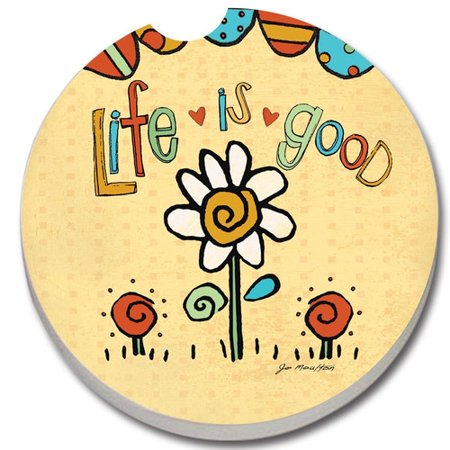 - CounterArt Absorbent Stone Life is Good Car Coaster (Set of 2)