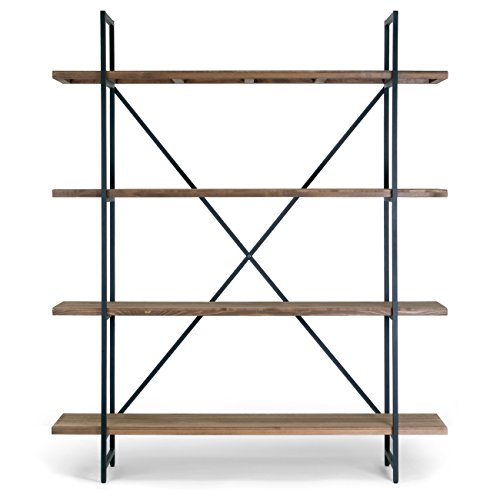 "Ailis 75"" Brown Pine Wood Metal Frame Etagere Bookcase Four-shelf Media Center by Glamour Home"
