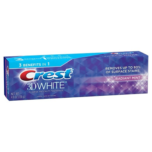 Crest 3D White Whitening Toothpaste Radiant Mint 4.8 oz.(pack of 4)
